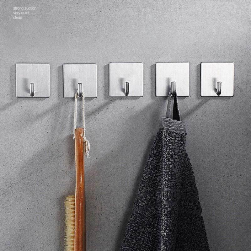 GoodGreat 5Pcs Stainless Steel Adhesive Hooks Wall Hooks Hanger Bathroom Office Hooks for Hanging Kitchen Bathroom Home