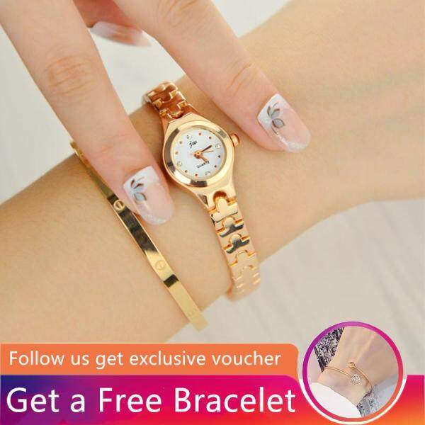 [ Get a Free Bracelet] JW Fashion Womens Watches Girls Watch Female Korean Version Simple Retro Waterproof Quartz Watches Middle School Students Stainless Steel Alloy Strap Gold Silver Small Bracelet Wrist Watches + Free Bracelet [Buy 1 Get 1 Free Gift] Malaysia