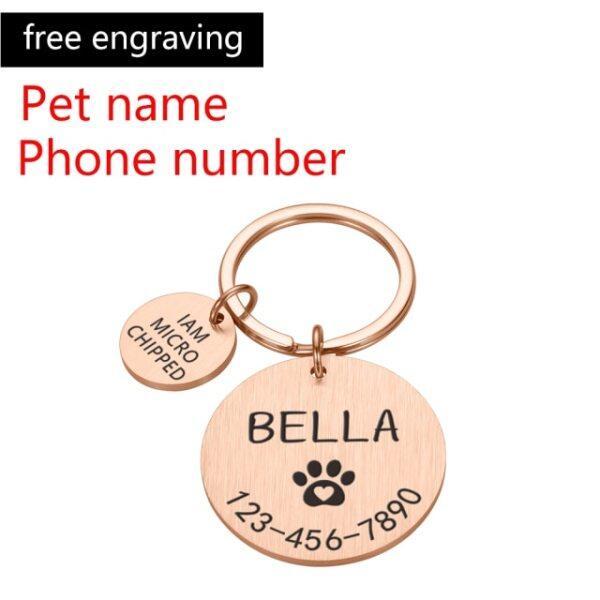 Thẻ ID Thú Cưng Khắc Hình Chó, Tên Cá Nhân Hóa Điện Thoại Hình Hoa Xương Tên Thú Cưng, Thẻ Cho Chó Con Mèo Mặt Dây Chuyền Vòng Khoá Phụ Kiện Thú Cưng DHCYJSM