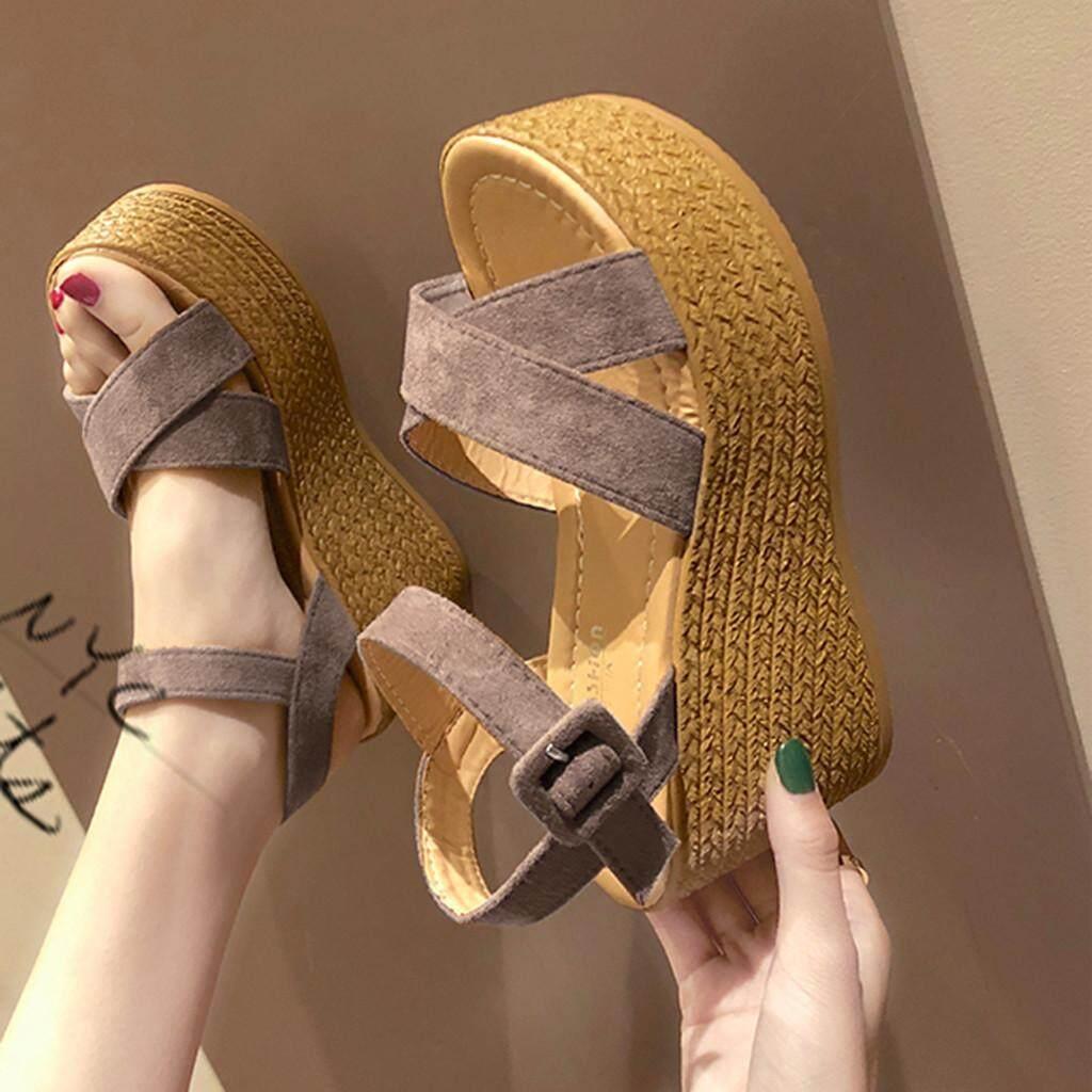 Lazada Khuyến Mãi Khi Mua Nữ Thời Trang Nêm Hở Các Nền Tảng Peep Toe Giày Sandal Cao Gót Giày