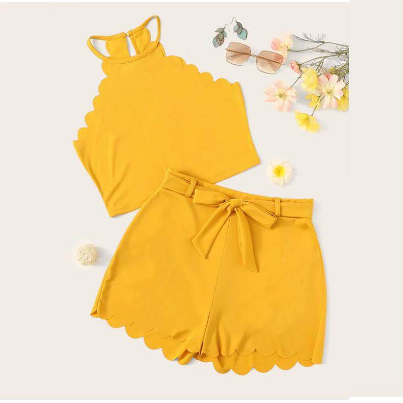 49548f2f067e2 SFhappyStore Fashion WomenSolid Sleeveless Tank Up Blouse+Shorts Hot Pants  Set