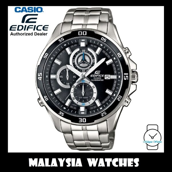 (OFFICIAL WARRANTY) Casio Edifice EFR-547D-1A Quartz Chronograph 100M Black Dial Stainless Steel Mens Watch EFR547D EFR-547D-1AV EFR-547D-1AVUDF Malaysia