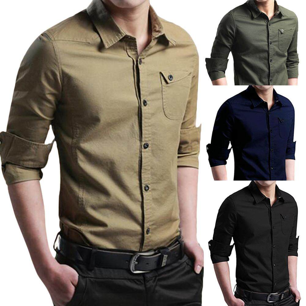 43bda850ee3 Mens Autumn Casual Military Cargo Slim Button Long Sleeve Dress Shirt Top  Blouse