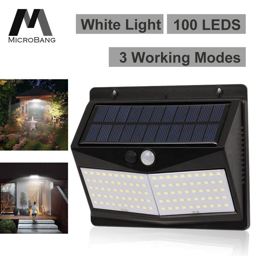 Microbang Upgraded 100 Led Solar Lights Outdoor Lighting Wall Light Waterproof Motion Sensor Light Wireless Solar Powered Wall Lamp Outside Security