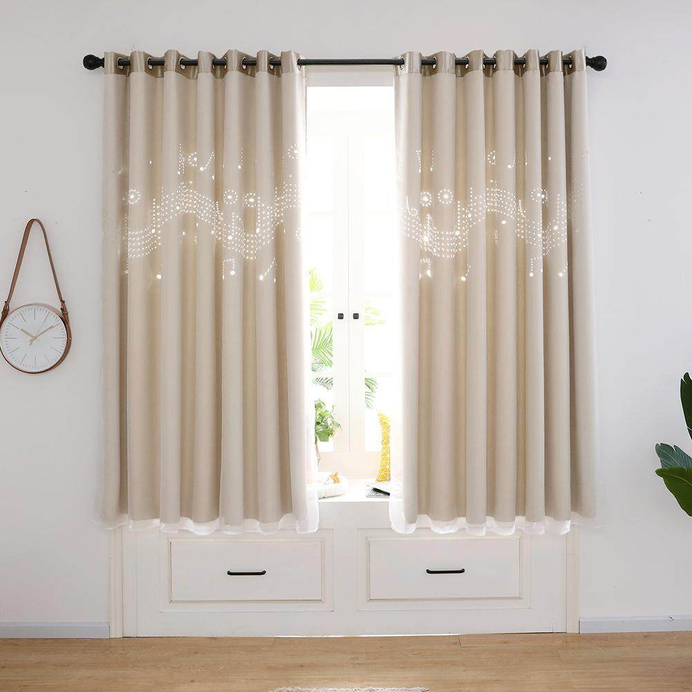 2pcs Hollow Musical Notes Windows Blackout Curtains with Mesh Yarn Living Room Bedroom Home Window Decorative Drapes Curtain
