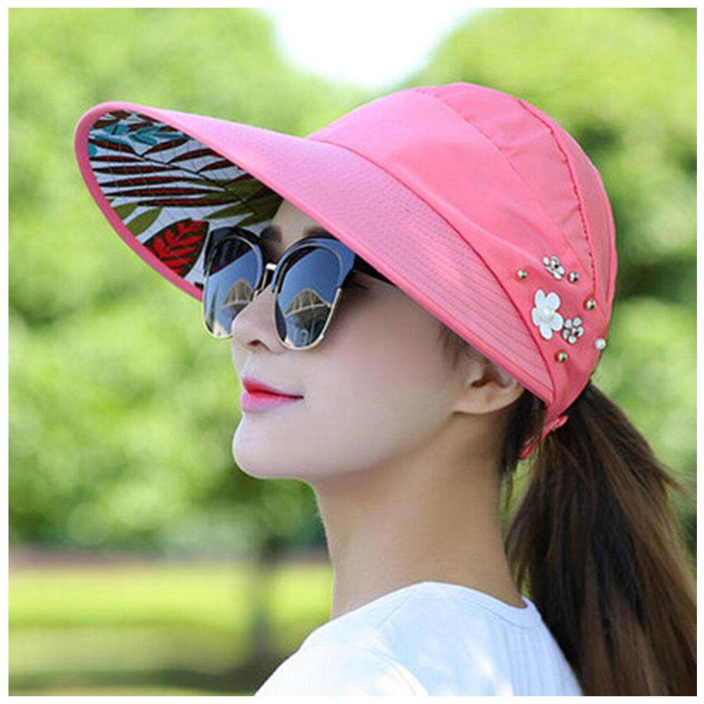 9624ceb7d61d1 Lady Womens Visor Hat Summer Sun Beach Ladies Foldable Roll Up Wide Brim Cap