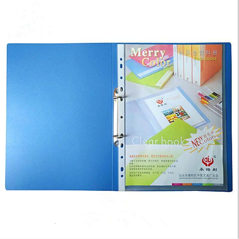 Mua 【Free Shipping】Blue thư mục Cặp văn phòng 2 lỗ O-loại Chất Kết Dính A4 Thư Mục Thân Thiện với môi trường Chất Liệu NHỰA PP Cứng Bền chủ lực cho các dự án/bài tập/bản ghi nhớ/trường học làm việc