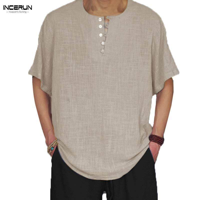 2412082c851 INCERUN Fashion Tide Men s Linen Short-sleeved T-shirt Large Size Fat Cotton  Half