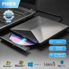 Ổ đĩa DVD bên ngoài pihen USB3.0 Ổ đĩa quang USB bên ngoài Đầu ghi DVD CD bên ngoài Đầu ghi DVD CD Hợp kim nhôm tương thích rộng rãi cho máy tính để bàn máy tính xách tay