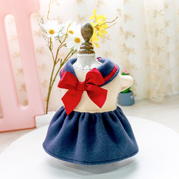 Jianjia28 Quần Áo Chó Quần Áo Mèo Phong Cách Hàn Quốc Công Chúa Váy Nơ Đỏ Cosplay Đại Học Cô Gái Xinh Đẹp Sinh Viên Váy Len Cho Shih Tzu Teddy Bichon