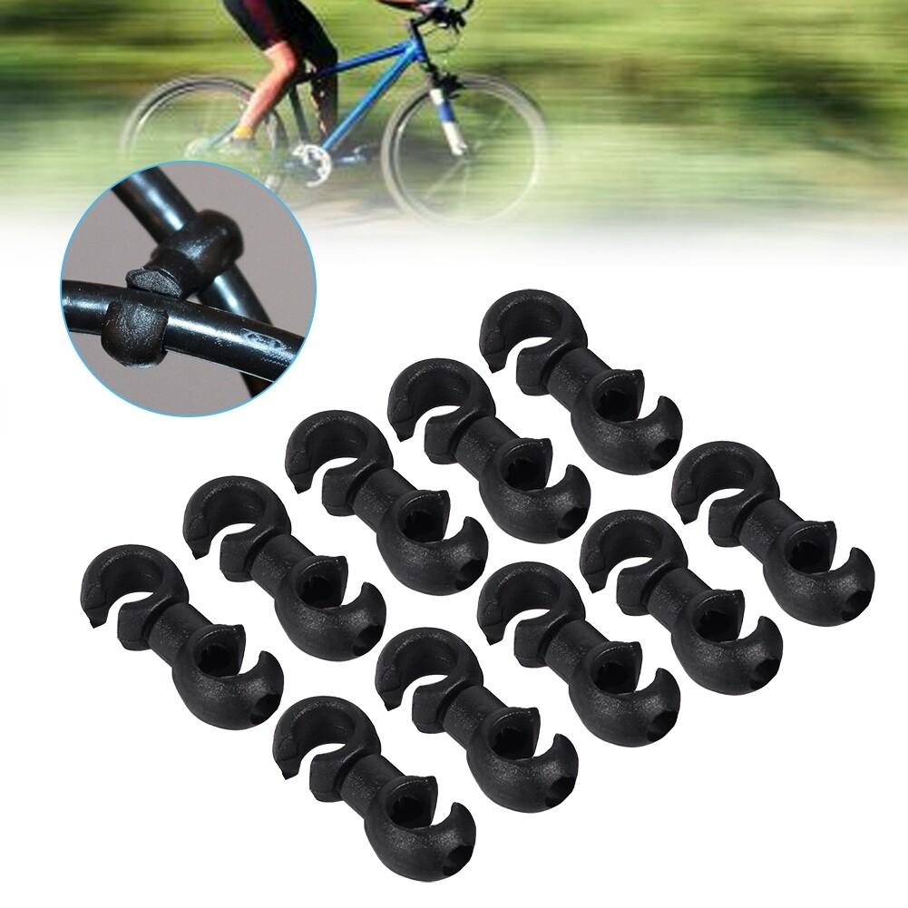 【ราคาถูกสุด】10pcs จักรยานจักรยานจักรยาน S-สไตล์คลิป Buck Brake Cable Buckle Holes สายเบรคเกียร์ข้อรัดสายเคเบิ้ล.