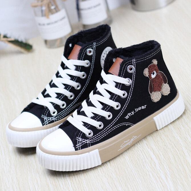 Giày Vải Nữ Giúp Đỡ Cao Và Vào Mùa Thu Đông 2020 Giày Thể Thao Nhỏ Màu Trắng Hai Bông Giày Joker Ấm Ulzzang giá rẻ