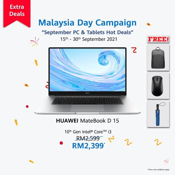 HUAWEI MateBook D15 i3 10th Gen 2021 | Ready Stock | 8GB/256GB ROM | 15.6 FullView Display | ORI | 2 Years Warranty Malaysia