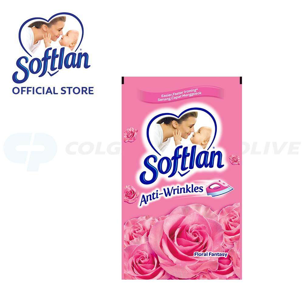 Softlan Anti Wrinkles Floral Fantasy (pink) Fabric Softener 800ml Refill By Colgate Palmolive.
