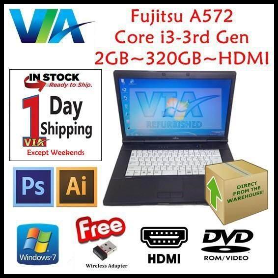 (Free Mouse) HDMI Laptop FUJITSU A572/F Core i3~2GB~320Gb HDD/120GB SSD~Win7 & BLACK Keyboard Rubber Malaysia