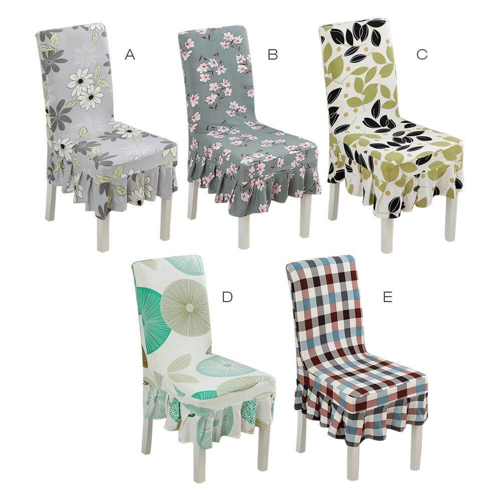 C-S 4 pieces Printed skirt cover, conjoined elastic cover home dining chair cover(White flower on gray)