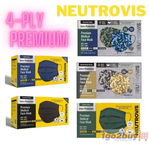 New Edition Neutrovis 4-Ply Premium Medical Face Mask 50Pcs Extra Soft Extra Protection Ear-Loop For Sensitive Skin **NEW EDITION**