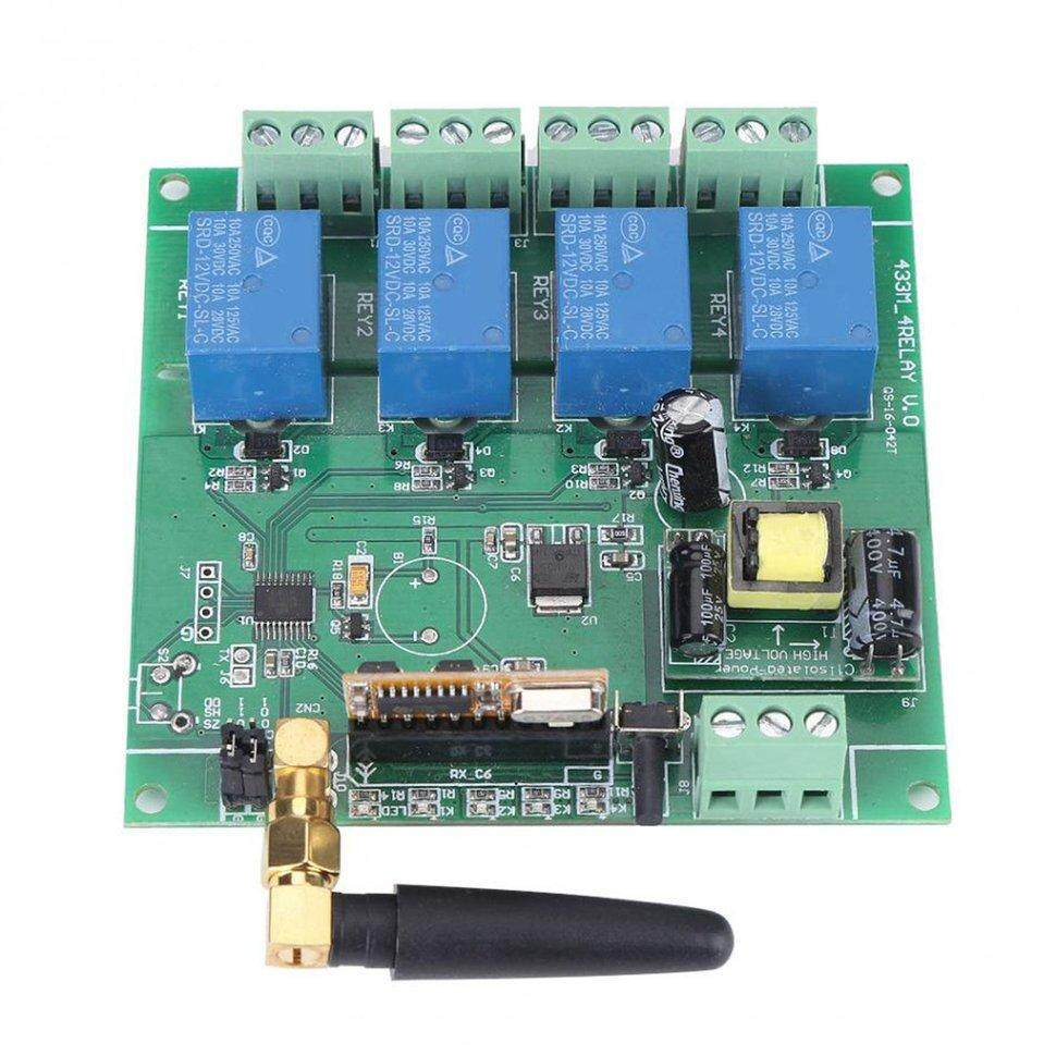 BGD 1pcs Ac220v 4-channel Relay Switch Module Board 433mhz Relay Module