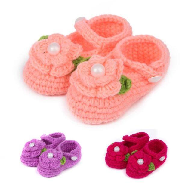 Phụ Kiện 0-12M Thời Trang Handmade Handmade Hoa Trẻ Sơ Sinh Cô Gái Giày Thường Vớ Nôi Đan giá rẻ