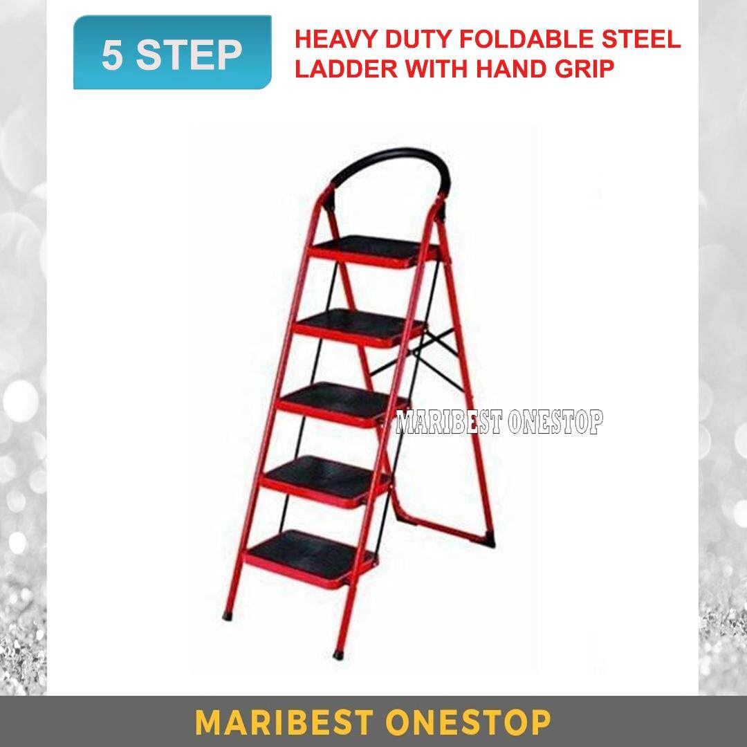 Heavy Duty Foldable 5 Step Stool Ladder with Hand Grip