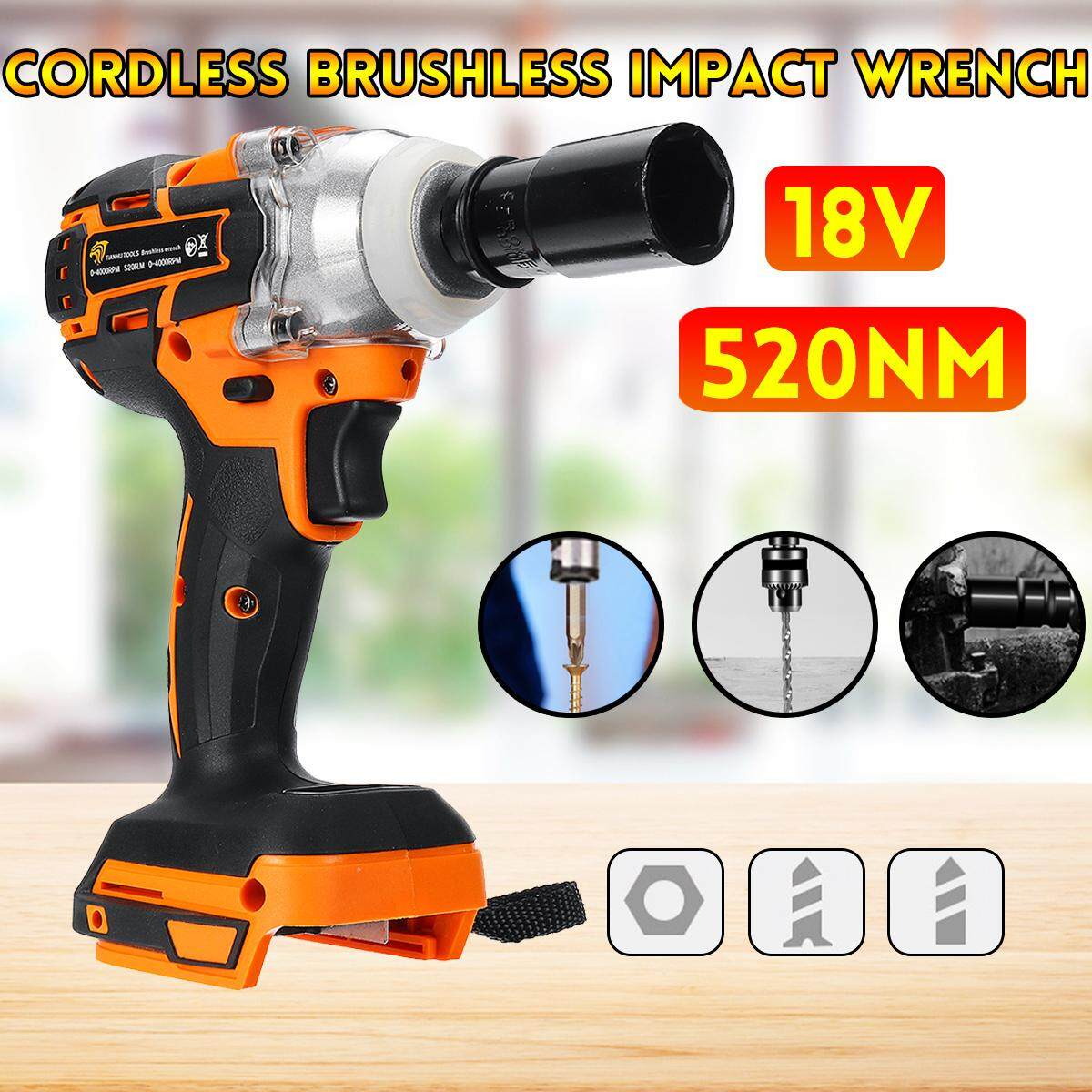 18V 520Nm 1/2  High Torque Cordless Brushless Impact Wrench Drill Tool Electric