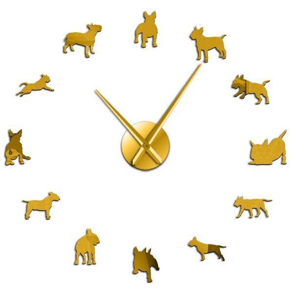 Đồng Hồ Treo Tường Lớn Tự Làm, Nghệ Thuật Treo Tường Chó Bull Terrier Đồng Hồ Kim Pug Giống Chó Trang Trí Cửa Hàng Thú Cưng Quà Tặng Cho Những Người Yêu Thích Bull Terrier
