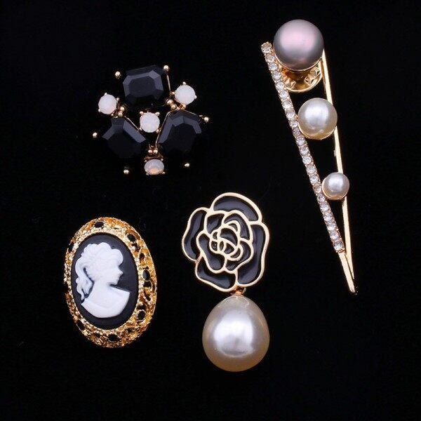 優品韓國精美小香風組合百搭胸針女奢華外套別針開衫襯衫領針徽章珍珠