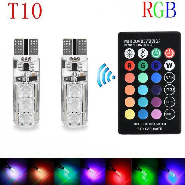 2 Chiếc Đèn LED 6SMD RGB T10 5050 Nhiều Màu, Bóng Đèn Điều Khiển Từ Xa Hình Nêm Cho Ô Tô