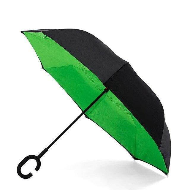 A prueba de viento de doble capa paraguas inversa creativo coches largo C-mujeres lluvia plegable paraguas invertido al revés paraguas,1