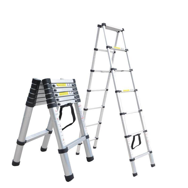 Double-sided aluminum alloy telescopic ladder 2+2 m Household bamboo-type telescopic ladder two-sided ladder Human ladder 2 m