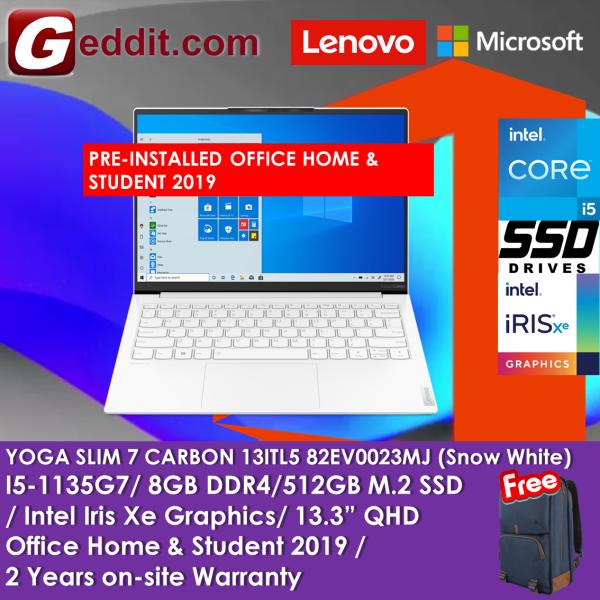 LENOVO YOGA SLIM 7 CARBON 13ITL5 82EV0023MJ LAPTOP (I5-1135G7,8GB,512GB SSD,13.3 WQXGA,WIN10H, MOON WHITE) FREE URBAN BACKPACK + PRE-INSTALLED OFFICE H&S 2019 Malaysia