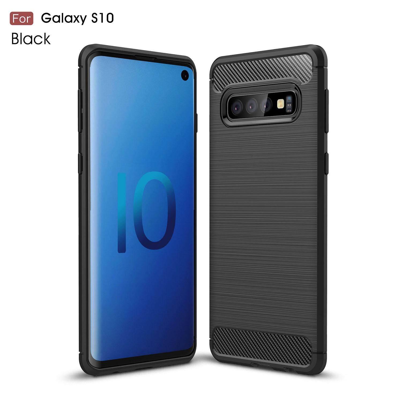 6d6494ac62 Samsung Galaxy S10 Carbon Fiber Slim Brushed Line Medium Hard TPU Casing  Cover
