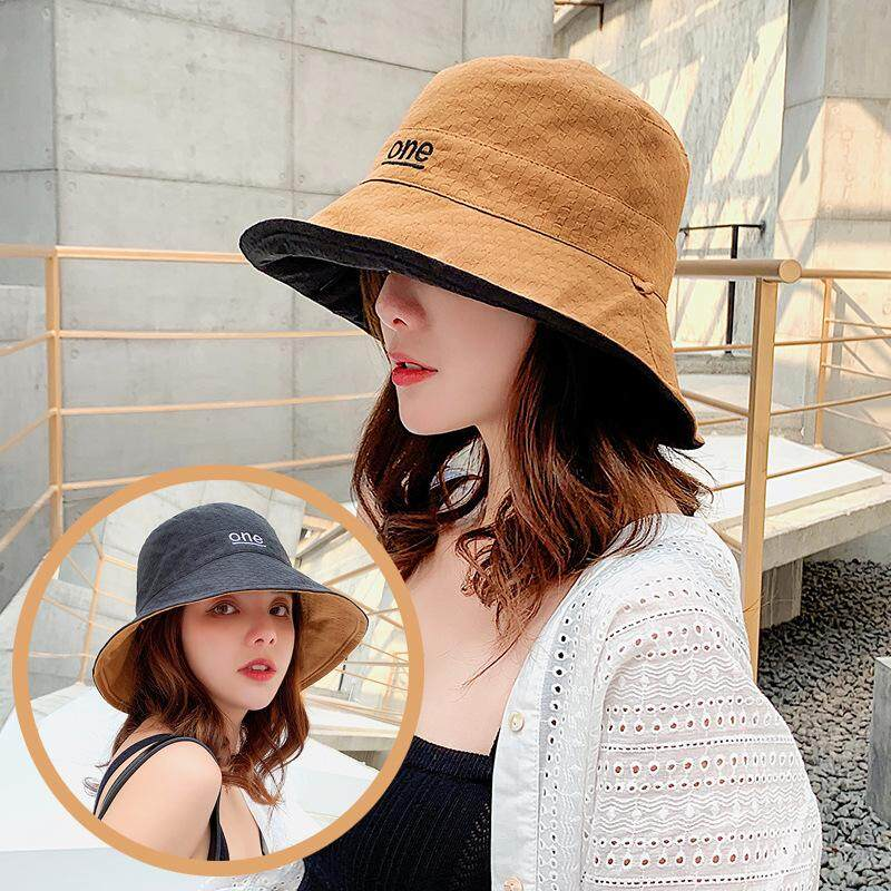 6a6ff0bd Wide Brim Fisherman Hat Female Japanese Harajuku Black Letter One Summer  Wild Double-sided Sunscreen