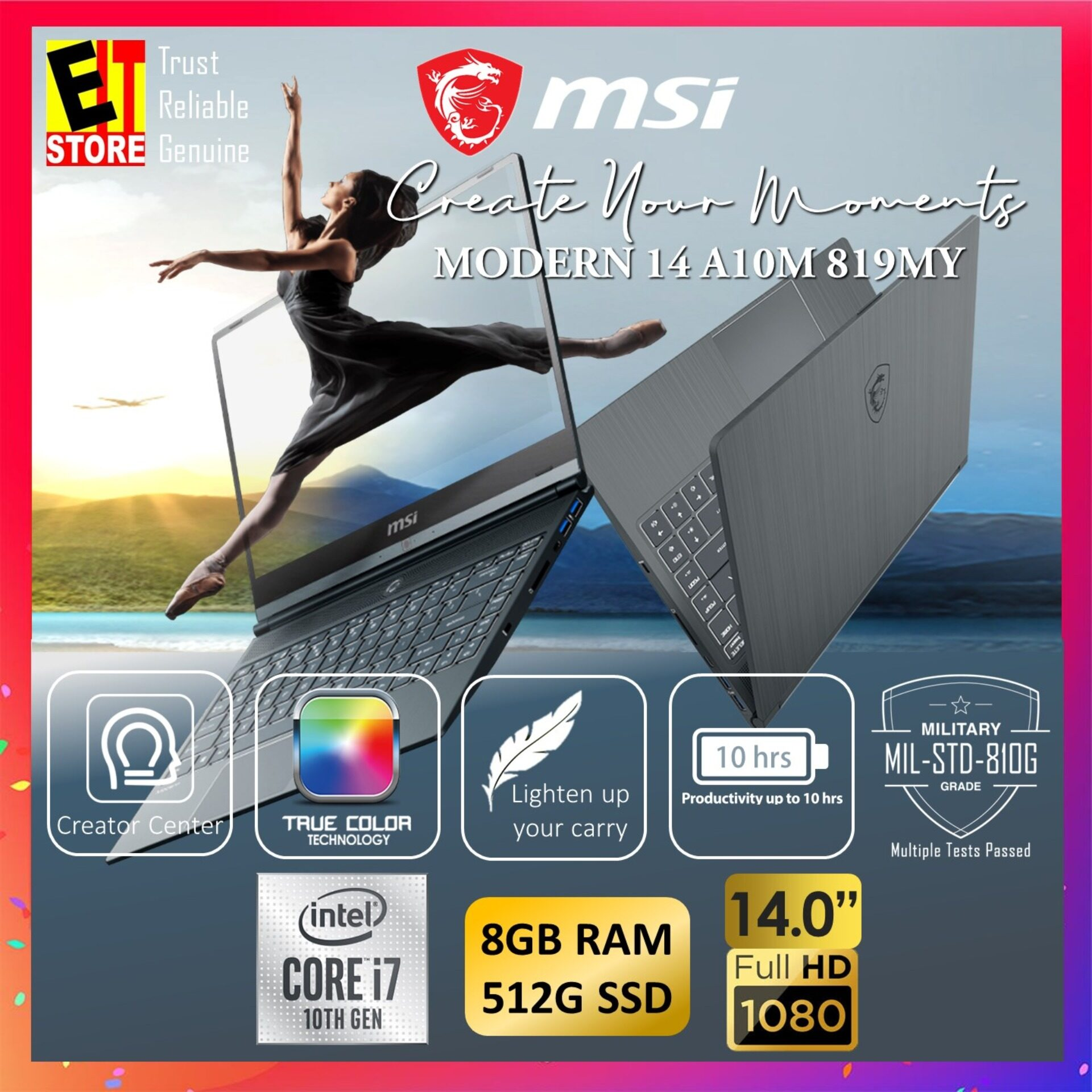 MSI MODERN 14 A10M 670MY CREATION LAPTOP -CARBON GREY (I7-10510U/8GB/512GB SSD/14 FHD/W10/1YR INTERNATIONAL) Malaysia