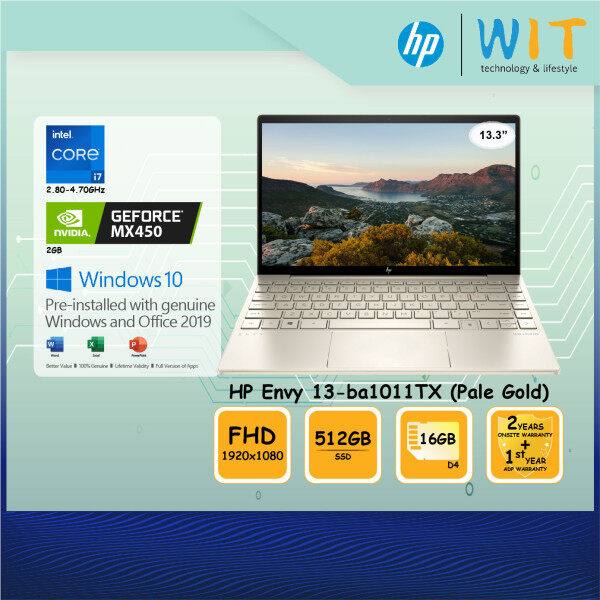 HP Envy 13-ba1011TX Laptop (Pale Gold)/Intel Core i7-1165G7 2.80~4.70Ghz/16GB D4/512GB SSD/13.3FHD/NVD MX450 2GB Malaysia