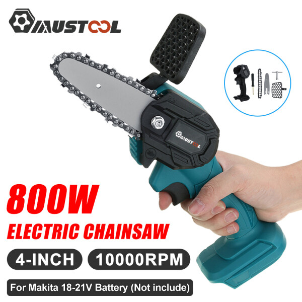 Mustool 800W Cordless Electric Saw 4 inch Electric Chain Saw Pruning Wood Cutter One-handed Garden Tool for Makita 18V Battery Woodworking Power Tools+1 x Wrench1 x Screwdriver
