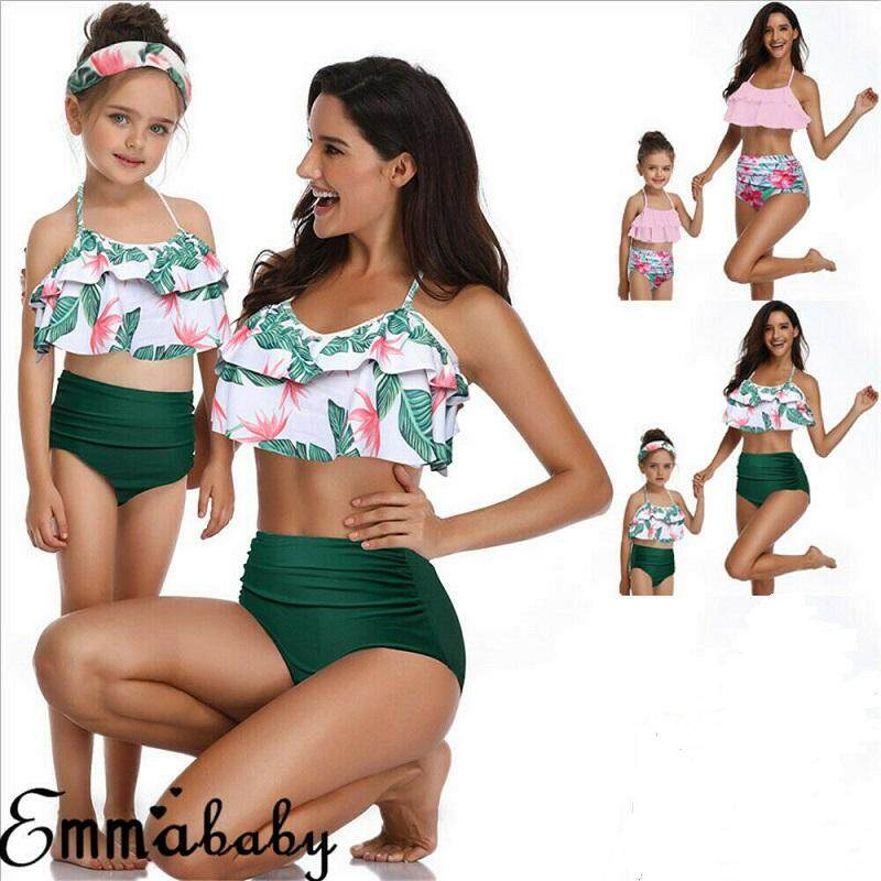 b5daf612496fb Family Matching Swimwear Mother Daughter Women Baby Girls Swimsuit Bikini ( Kids)