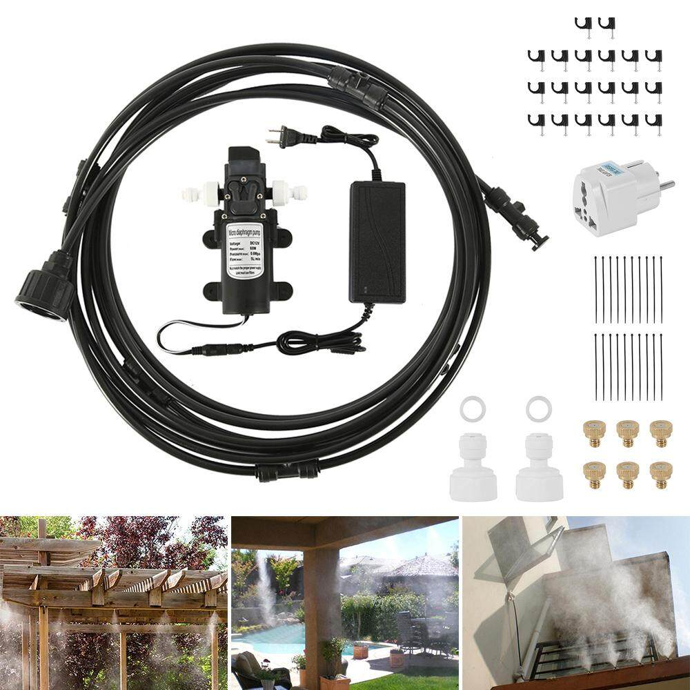 Hands DIY Outdoor Patio Water Irrigation Mist Nozzles Spray Kit - EU 6M 12V Automatic Misting Cooling System Fan Cooler