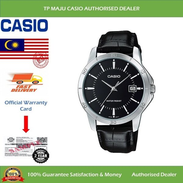 CASIO MTP-V004L Analog Men's Casual Formal Luxury Watch Water Resistant Black Dial with Date Display & Leather Band for Men - MTP-V004L-1AUDF ( Official 2 Years Warranty ) Malaysia