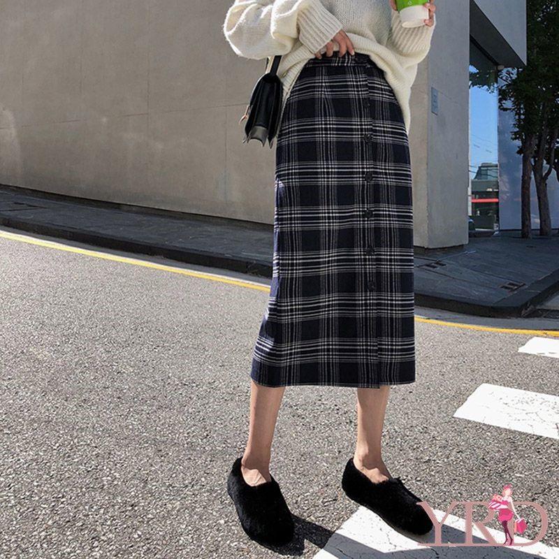 Giá bán Mùa Xuân Thu Đông Nữ Cao Cấp Retro Kẻ Sọc In Trung Dài Chân Váy Chữ A