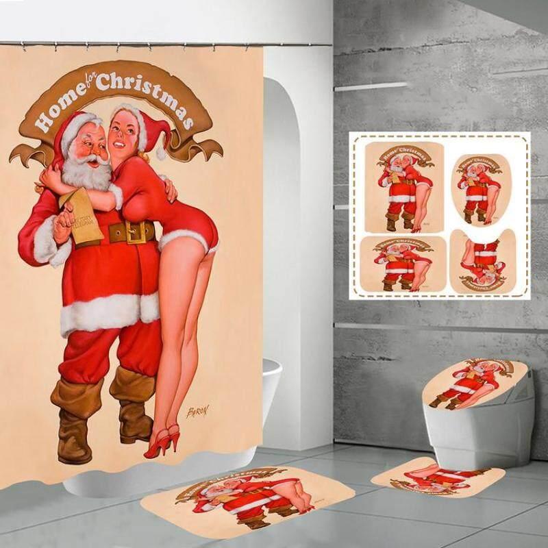 Bộ Rèm Giáng Sinh Aokaila, Bộ Rèm Tắm 4 Mảnh, Thảm Chống Trượt, Thảm Nhà Vệ Sinh, Đồ Trang Trí Giáng Sinh
