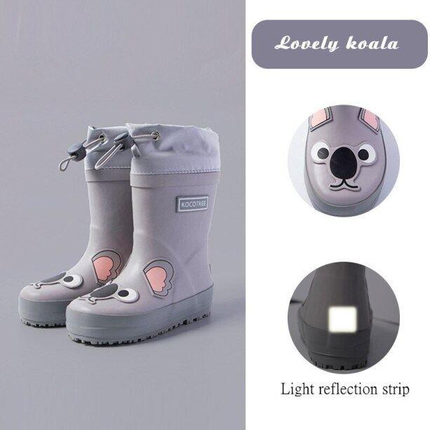 Bốt đi mưa cho trẻ em bé gái, giày cao su in hình kỳ lân dễ thương, giày chống nước cho bé trai giá rẻ