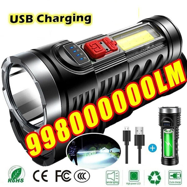 [In Stock] Original Super Bright 10000000LM Torch Powerful LED Flashlight With Built-in Battery USB Flashlight Re-chargeable Tactical light Torch Lamp Work Light