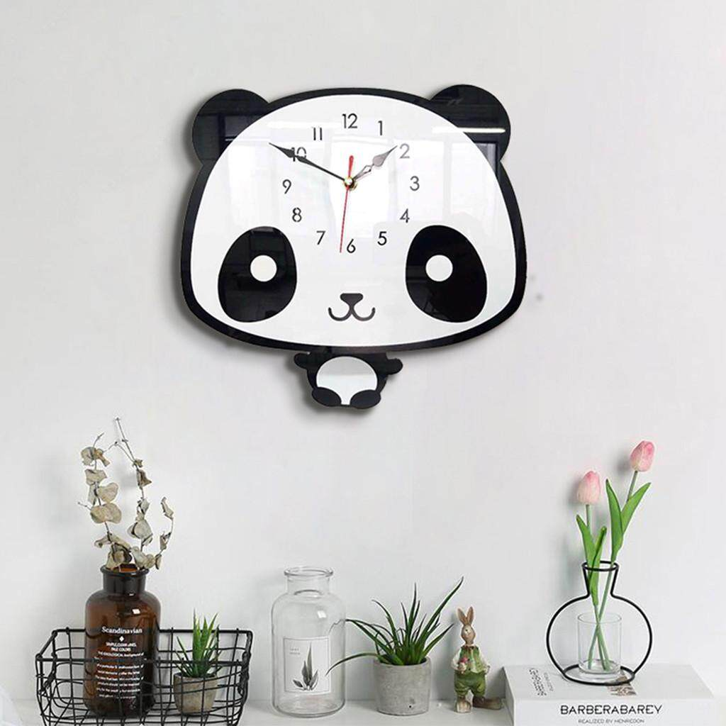 GOULD Nordic Style Panda Wall Clock Silent Wooden Clock for Home Living Room