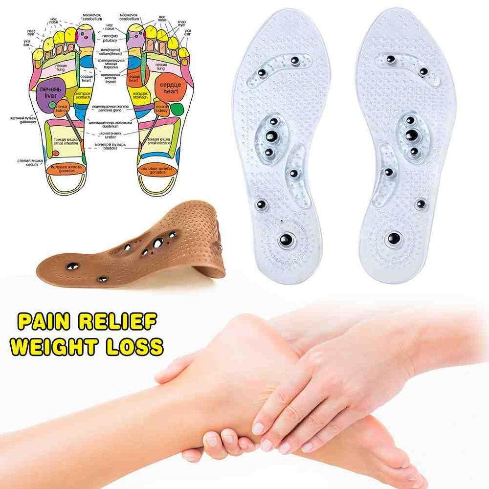 Deyln_1 Bantalan Ganda Sol Insole Pria/Wanita Magnetic Terapi Pijat Insole Perawatan Plantar Tumit Fasciitis