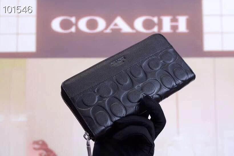 2019 Coach_Men's pressure C wallet top layer crepe leather