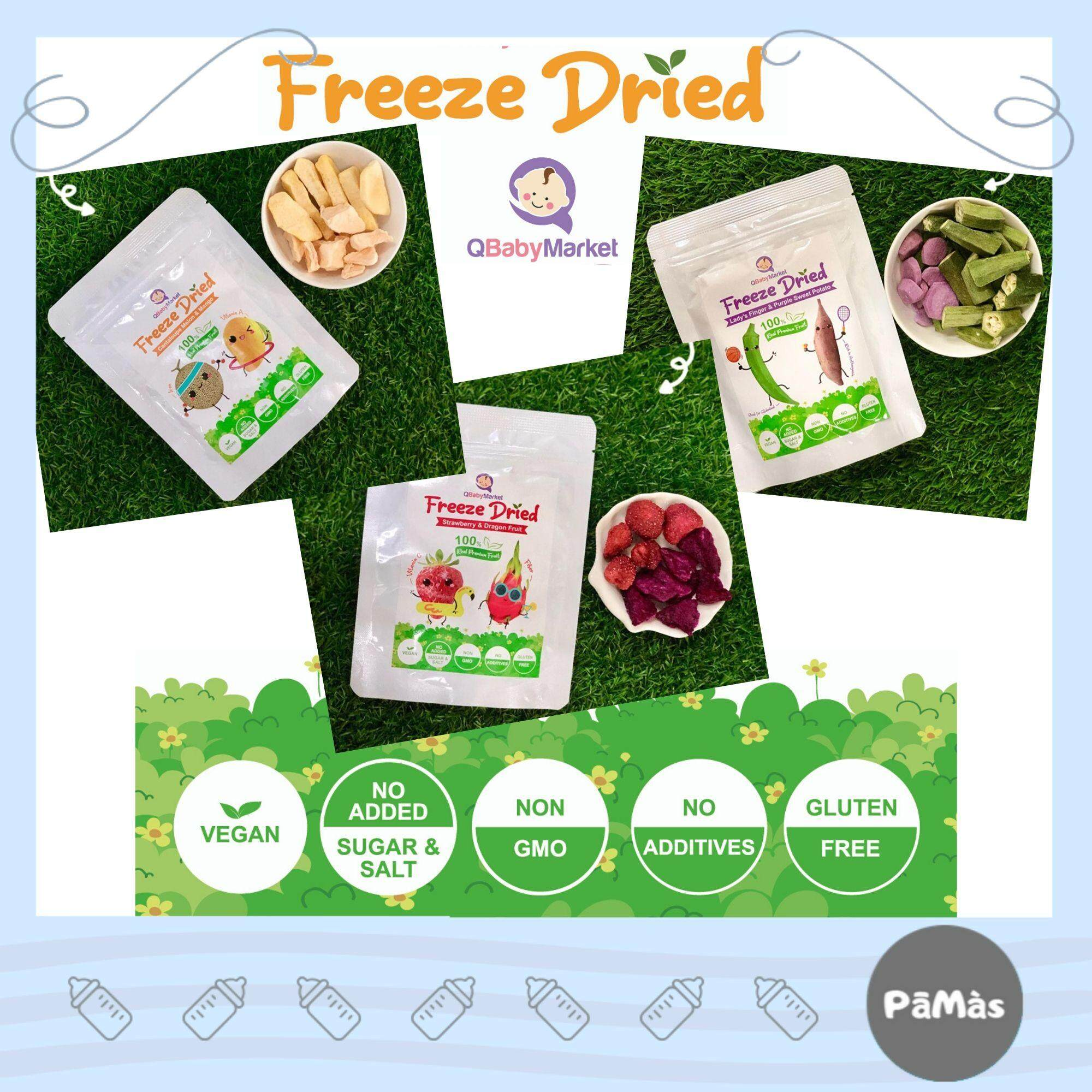 QBabyMarket 宝宝冻干蔬菜水果Freeze Dried Fruit/Vege Healthy Snack, 100%Natural Real Fruit/Vege,Freeze Dried Healthy Snack, No Preservatives,Oil Free