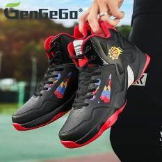 GenGeGo Giày thể thao bóng rổ hai tông màu Lacy dành cho nam nữ, giày chạy bộ đế bằng chất liệu da phối lưới – INTL