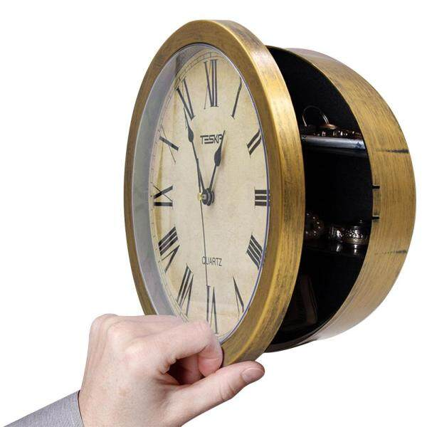 Clock Wall Hanging Jewelry Security Vintage Office Secret Pointer Cash Watch Safety Box