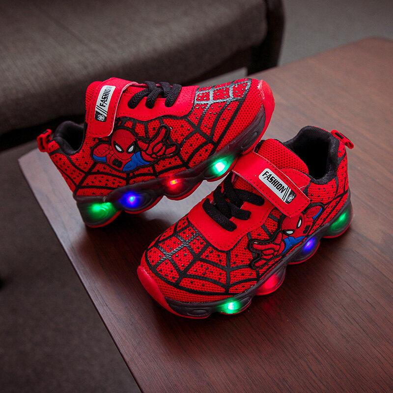 รองเท้าเด็ก รองเท้าสไปเดอร์แมนรุ่นใหม่ รองเท้ามีไฟ Led รองเท้าแฟลชกีฬาไฟledรองเท้าสำหรับเด็ก สำหรับเด็กวัยหัดเดิน รองเท้าเด็กชายหญิง.